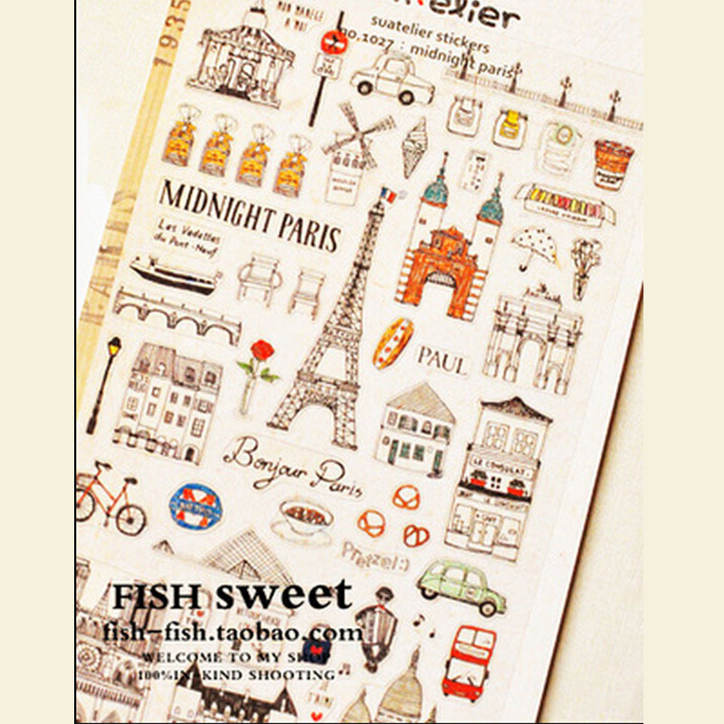 1 x vintage tower paper sticker diy decoration sticker for album scrapbooking kawaii stationery Paste gift for kids