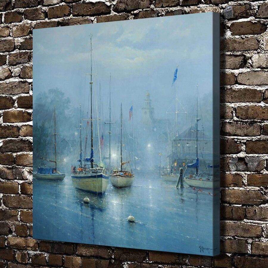 ᐂA2602Gerald Harvey Jones azul ciudad nave paisaje. HD Canvas Print ...
