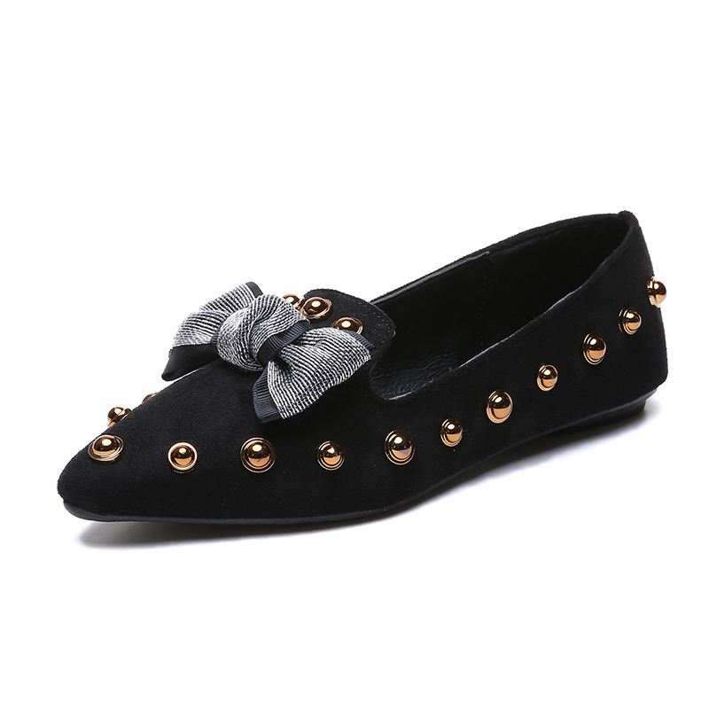 Spring Women Flats Bowtie Slip on Flat Shoes Rivets Boat Shoes Woman Casual Shoes sneaker Ladies Shoes zapatos mujer loafer 7080 5