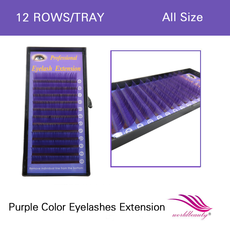 все цены на Free shipping colorful hot sale 1 pcs/lot individual lashes purple lash extension color 0.07mm J/B/C/D curl all size available