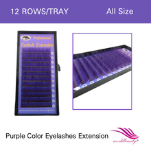 Free shipping colorful hot sale 1 pcs/lot individual lashes purple lash extension color  0.07mm J/B/C/D curl all size available