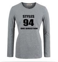 Stili No. 94 One Direction 1D Band Design Pattern Stampato Maniche Lunghe T-Shirt Della Ragazza delle Donne Graphic Tee Top T shirt