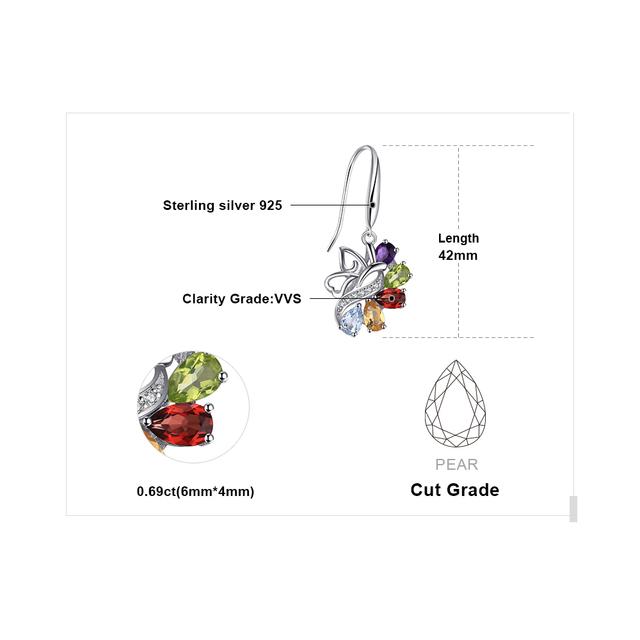 JewelryPalace Butterfly 4.8ct Genuine Amethyst Citrine Garnet Peridot Sky Blue Topaz Dangle Earrings 925 Sterling Silver Earring