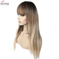 StrongBeauty Women's Synthetic Wigs Kanekalon Hair Matte Ombre Long Straight Neat Bang Style Natura Wig Blonde