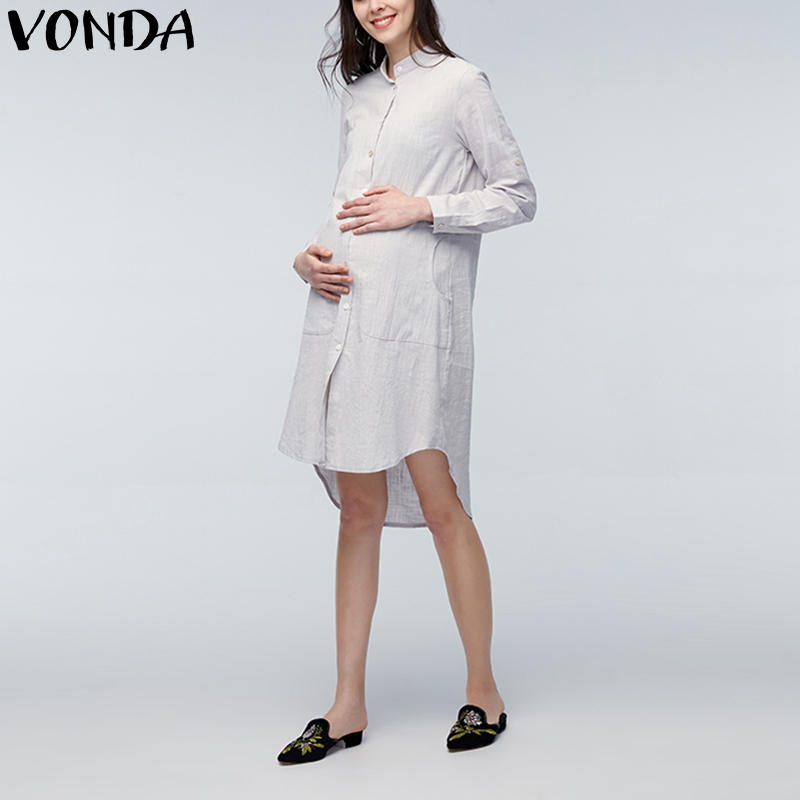 VONDA 2018 Summer Casual Loose Knee-length Dress Maternity Clothings Pregnant Women Plus Size Pregnancy Vintage Mothers Vestidos