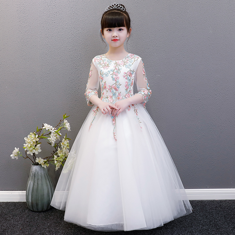 2-12Y Embroidery Ball Gown Mesh Floral Princess Dresses Flower Girl Dress For Birthday Party Dress Kids Pageant Gowns AA22 цена 2017