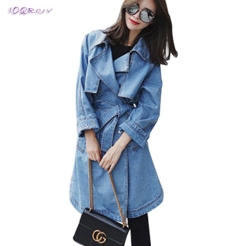 spring fashion female   trench   coat women elegant women's windbreake Bow tie belt denim women coat slim long coats IOQRCJV T198