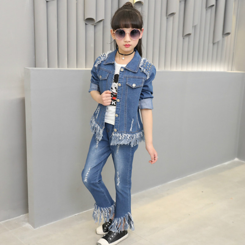 2019 new fashion baby girl clothes spring and autumn jean suit rivet denim jacket+girl jeans body suit girls jean clothing sets2019 new fashion baby girl clothes spring and autumn jean suit rivet denim jacket+girl jeans body suit girls jean clothing sets