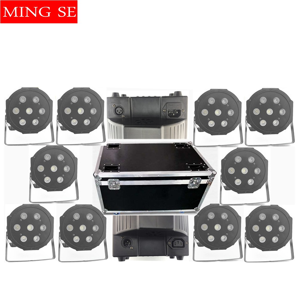 10pcs/lots  7x10W Led Par Lights RGBW 4in1 Flat Par Led Dmx512 Disco Lights Professional Stage Dj Equipment With Flight Case