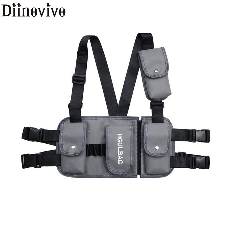 DIINOVIVO Hot Fashion Chest Rig Waist Bag Pack Multi-pocket Hip Hop Streetwear Functional Military Tactical Chest Bag WHDV1039