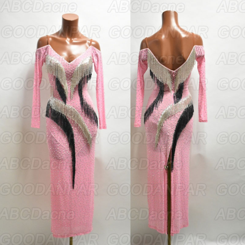 Latin Dancing Dress Pink Longsleeve Tassel Bead Fringe Dress For Latin Dancing,salsa Tango Dress Custom-handmade Latin Dress