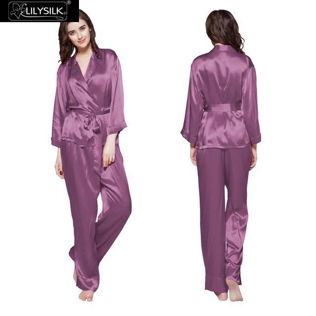 Lilysilk Women Sleepwear Pure Silk Pajamas Set Short Bathroe Full Pant Belt 22  Momme Soft Luxury Skin Care Violet Brand Clothing a2d42e6b5