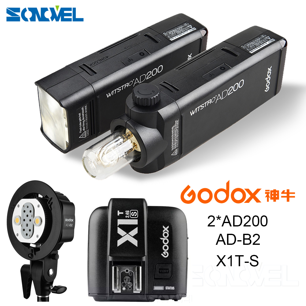 все цены на 2X Godox Pocket Outdoor Flash AD200 Convertible cap 2.4G Wireless 200WS TTL HSS 1/8000s sync+AD-B2+X1T-S For Sony a77II, a7RII, онлайн