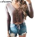 WINDGIRL Mulheres camisola Ocasional de malha Cinto de mulheres quente camisola de manga longa mulheres top fashion sexy Com Decote Em V
