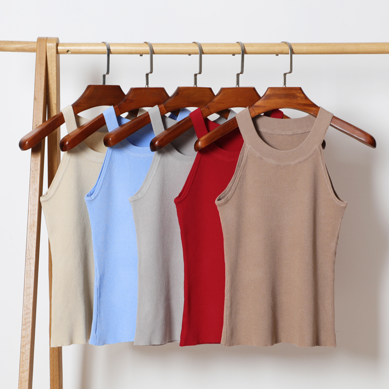 GOPLUS Spring Fashion Halter Sexy Knitted Tank Tops Women Sleeveless Elastic Crop top Casual Elegant Vest slim female Tees Camis in Tank Tops from Women 39 s Clothing