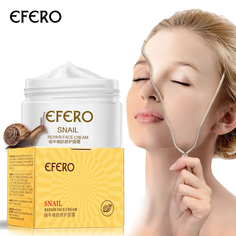 efero Snail Face Cream Whitening Anti-wrinkle +Argireline Serum Instantly Ageless +Gold Eye Mask &Crystal Lip Mask Skin Care Set