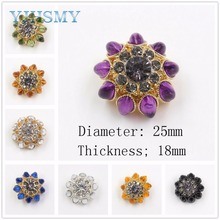 YJHSMY 1711161,1 pcs  8-color optional colored diamond inlaid metal buttons jewelry clothing accessories DIY materials