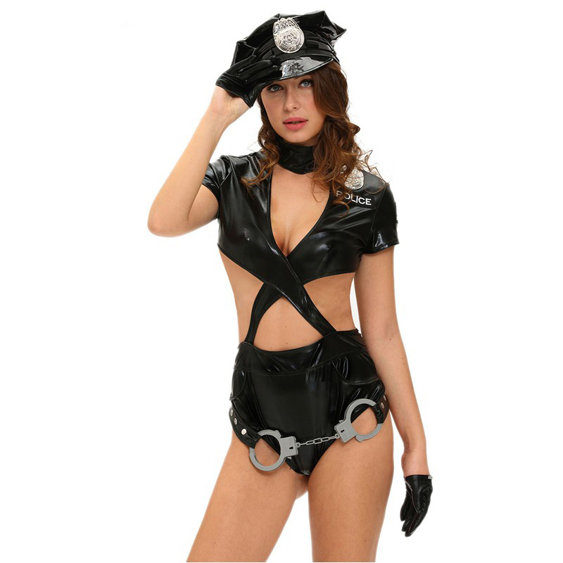 Hot 2017 New Fashion Police Woman Sexy Cop Halloween Costume with Hat, Gloves, Badge and Belt LC8975