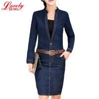 Women Denim Dress 2018 Spring Autumn Fashion OL Business Office V neck Long Sleeve Jean Pencil Dresses