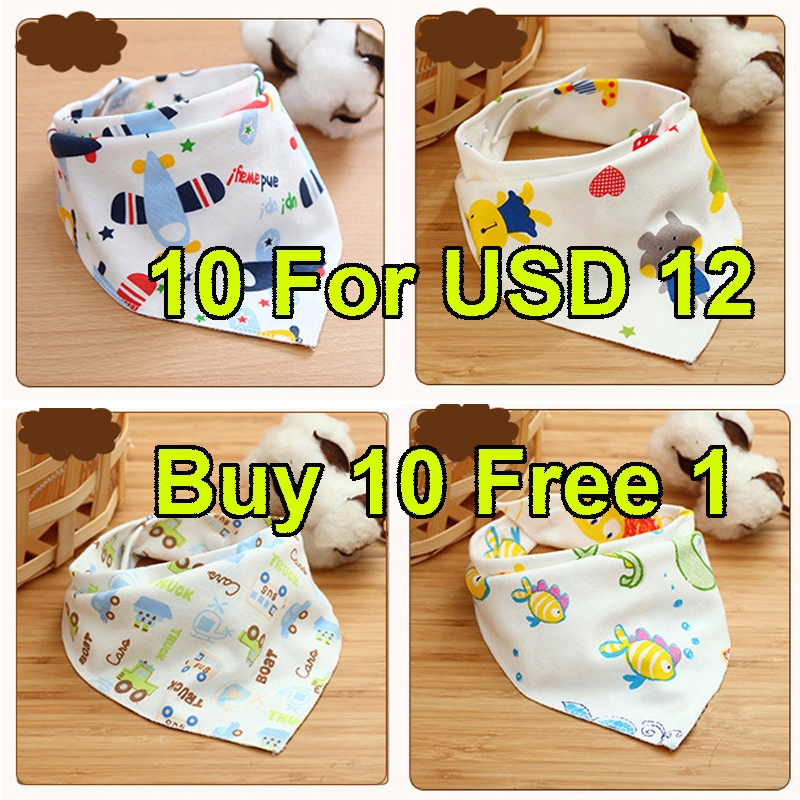 Buy 10 Free 1 Cartoon Newborn Baby Burp Bandana Bibs Cotton Soft Kids Toddler Triangle Scarf Infant Saliva Towel DS39