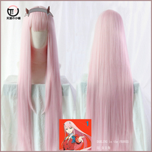 DARLING in the FRANXX Zero Two 002 Pink Long Straight Cosplay costume Wig +Track +CAP