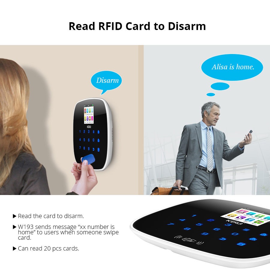 KERUI W193 Drahtlose RFID WCDMA GSM WIFI PSTN Hause Einbrecher Sicherheit Alarm System TFT Farbe Display Android iPhone IOS APP control