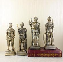 Medieval European Tin Samurai Warrior sculpture/ Doll Cavalry Soldier Knights /Soldier resin statue Home Decorations