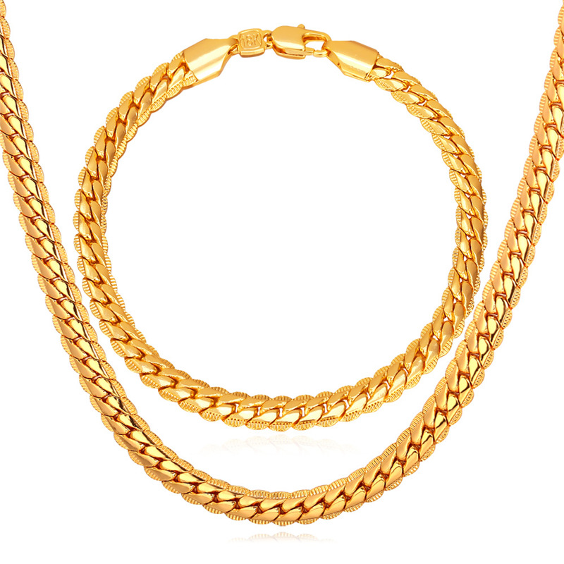 Detail Feedback Questions About Kpop Necklaces Bracelets Set For Men Gold Color High Quality 5mm 55cm 21cm Figaro Necklace Man Chains S739 On