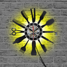Creative Vinyl Wall Clock Gift Idea for Barber Hair Beauty Salo Hairdresser Barber Shop Art Decor Clock Cool Design(China)