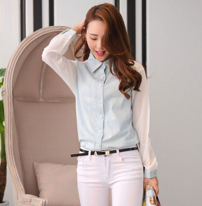 919c5bdff9 Formal White Chiffon Jeans Shirt Women Plus Size Vintage Woman Clothes  Office Long Sleeve Denim Blouse Patchwork Style Autumn-in Blouses   Shirts  from ...