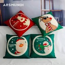 Merry Christmas simple Cushion Cover cartoon flax snowman Santa Claus pillow cover Home Decorative pillowcases Gift