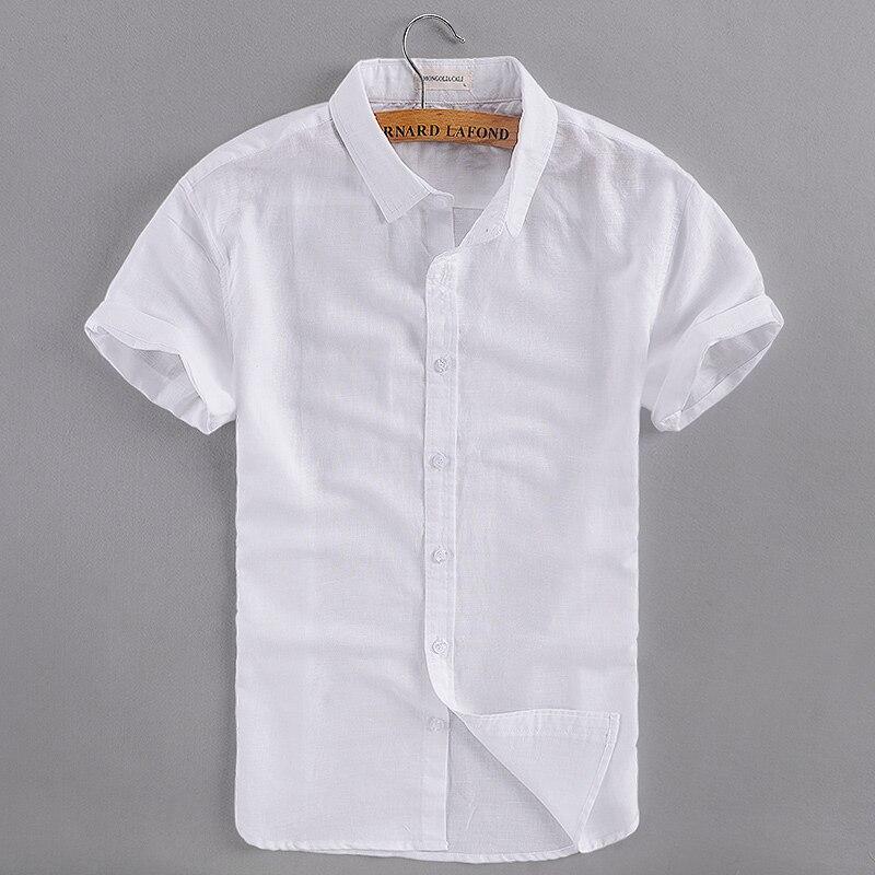 İtalya marka pamuk gömlek erkekler slim fit kısa kollu turn-down - Erkek Giyim - Fotoğraf 6