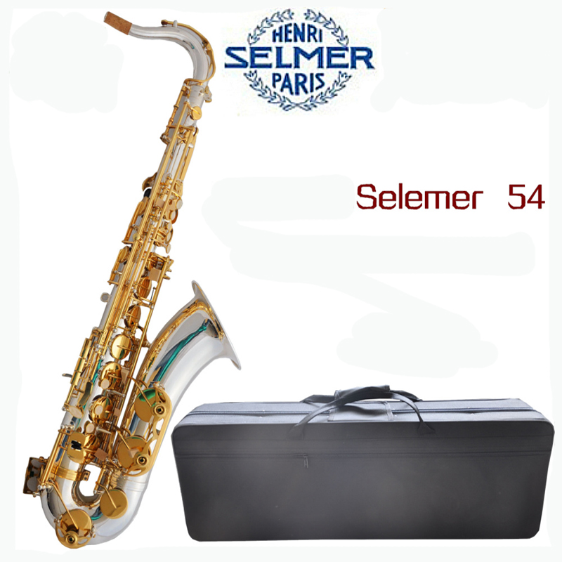 Silver Surface and Gold Key Selmer 54 Saxophone Tenor Eb Sax with Nylon Case tenor saxophone free shipping selmer instrument saxophone wire drawing bronze copper 54 professional b mouthpiece sax saxophone