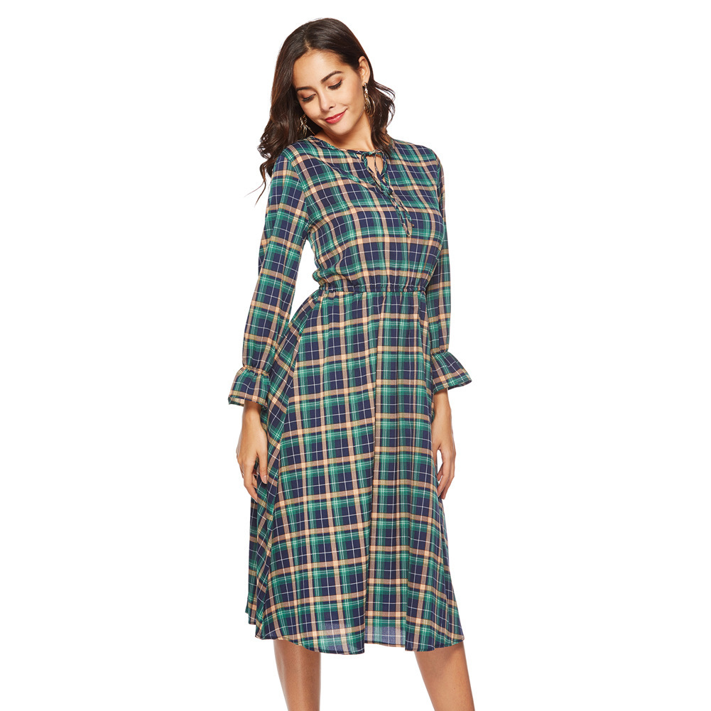 2019 Spring And Summer New Europe And America Chiffon Check Print Long Sleeve Dress Bow Dress Women Return To The Ancients Maxi