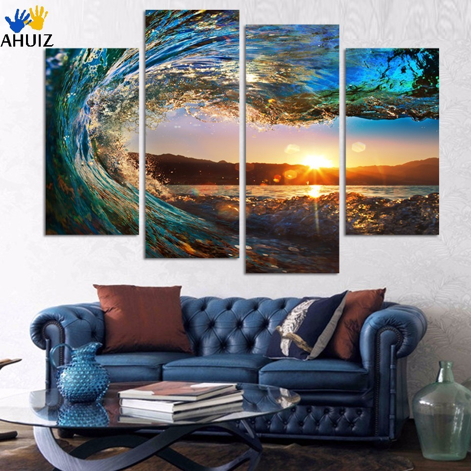 Framed Ready To Hang or with frame 4 Panel Modern Seascape Painting Canvas Art Sea wave Landscape Wall Picture For Bed Room F213
