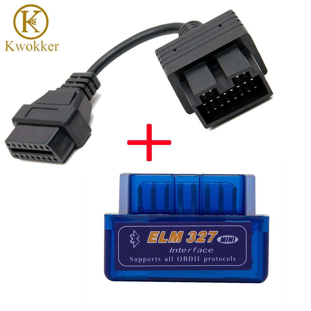 Super Mini ELM327 Bluetooth + OBD2 Connector Cable for Kia 20 pin Car Scanner Diagnostic Tool ELM 327 For Android Torque Windows latest super mini elm327 bluetooth v2 1 elm 327 car code reader obd2 car diagnostic tool for obdii protocol for android windows