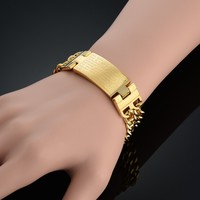 Unique Cross Thick Chain Link Bracelet Brand Trendy Stainless Steel Bracelet Chain 18k Real Gold Plated