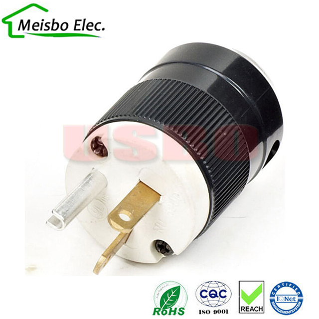 America 120V 20A 3 pole NEMA 5 20P us double plug In line industry ...