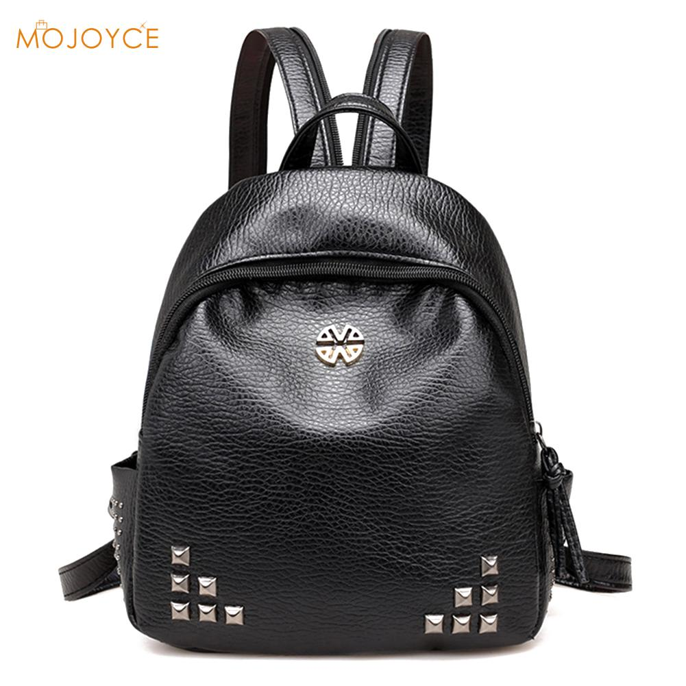 Preppy Chic PU Leather Backpack Women Rivet Backpack Simple School Bags for Teenage Girls Female Backpack Travel Shoulder Bags cartoon melanie martinez crybaby backpack for teenage girls school bags backpack women casual daypack ladies travel bags