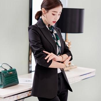 PEONFLY New Solid Color Black Simple Women Blazers Suit Slim Jacket Work Wear Office Female Elegant Business Coats Autumn Winter 1