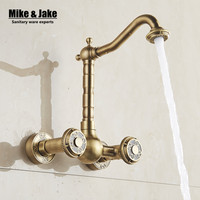 Antique Brass Wall Mounted Kitchen Faucet Bathroom Antique Faucet Wall Sink Crane Basin Tap Antique Water