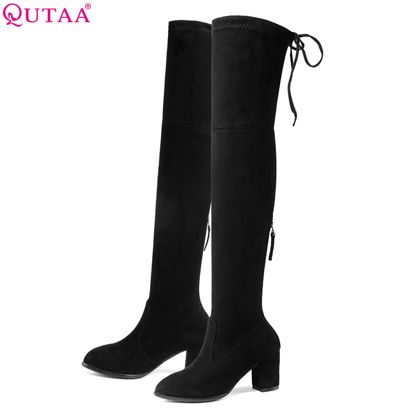 QUTAA/2018 г. женские ботфорты выше колена острый носок на молнии на высоком квадратном каблуке элегантные черные женские мотоциклетные ботинки... ...