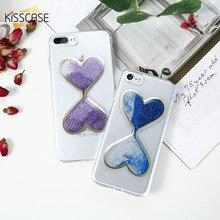 Kisscase сердце песочные часы случаях для iphone 6 6s plus 5S se bling динамический блесток блеск зыбучие пески чехол для iphone 7 7 plus case