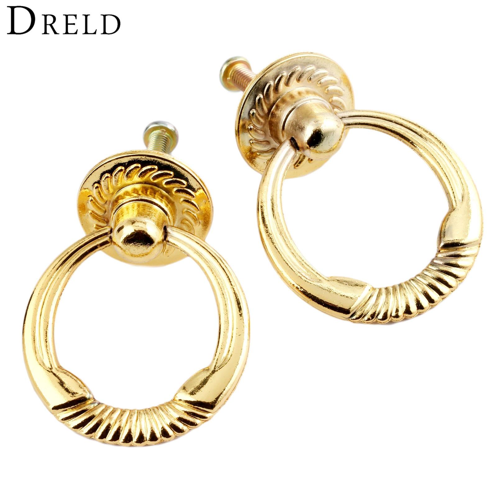 Us 199 25 Offdreld 2 Stks Antieke Gouden Kast Knop En Handvat Vintage Meubels Handvat Deur Kast Lade Knop Ring Pull Handvat Voor Meubels In Kast