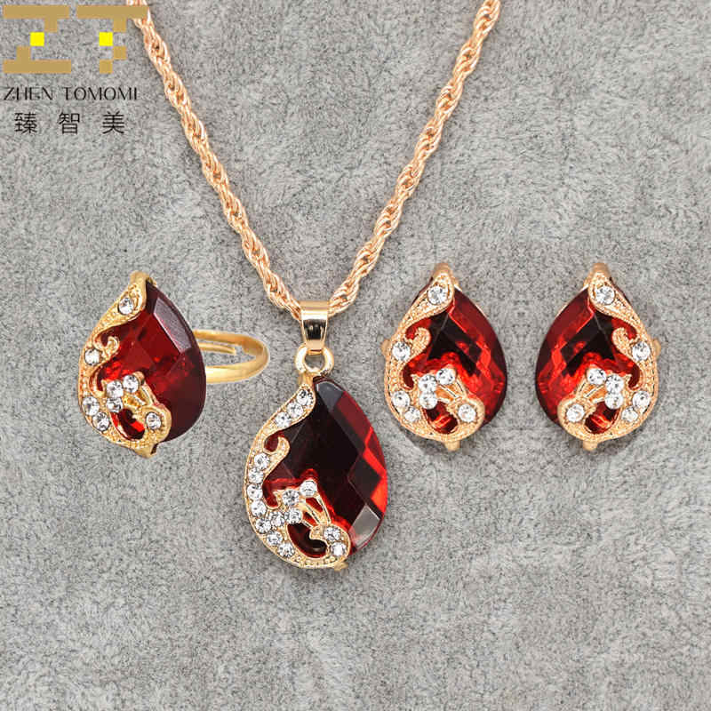 2019 Hot Fashion Bride Wedding Austrian Crystal Water Drop Peacock Pendants Necklace/Earrings/Ring For Women Jewelry Set Party