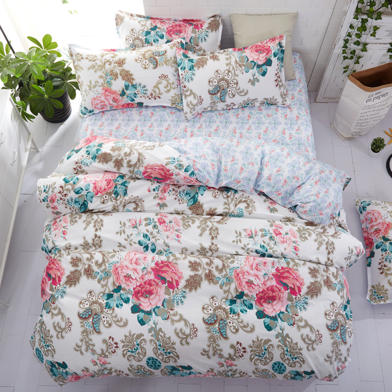 home bedding flower bedding set 3/4pcs bed linen summer duvet cover set elegant wedding bed set home decor pastoral flat sheethome bedding flower bedding set 3/4pcs bed linen summer duvet cover set elegant wedding bed set home decor pastoral flat sheet