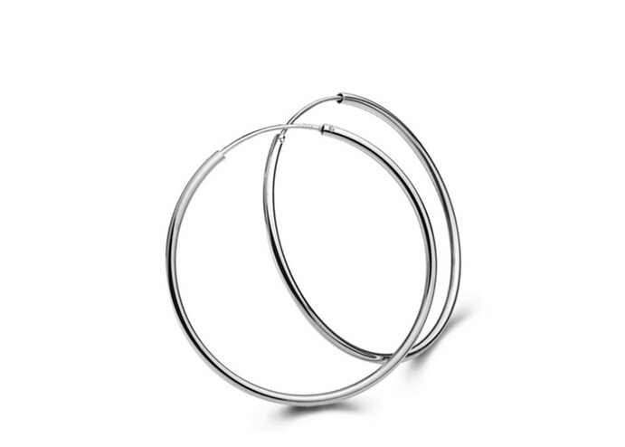 White Gold Low Price Promotion Silver Hoop Earrings Classic