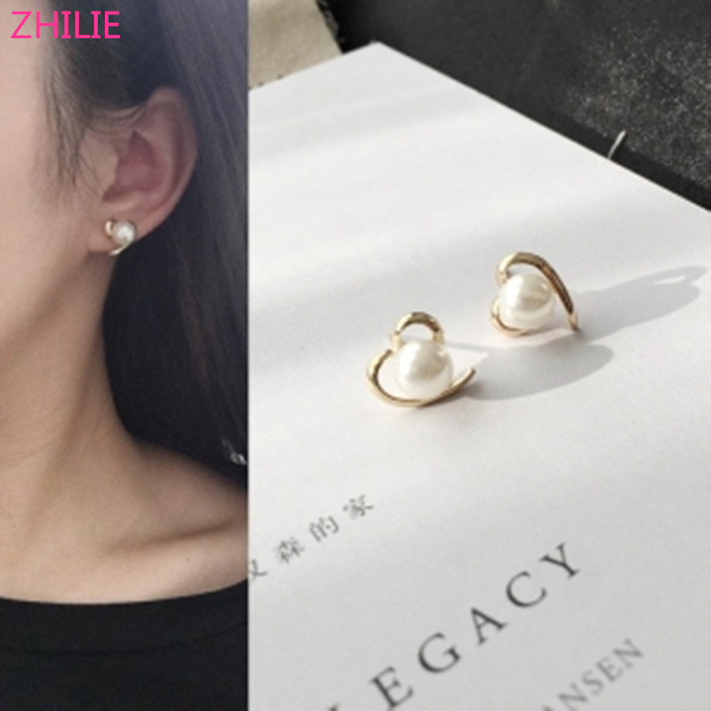 Korean fashion jewelry peach heart love pearl simple smooth female earrings free shipping