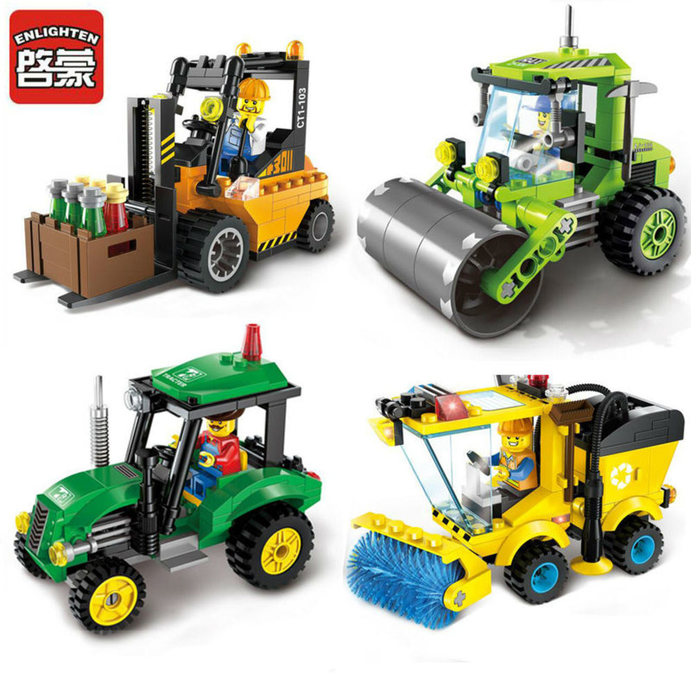 ENLIGHTEN City Series Forklift Sweeper Car Truck font b Construction b font mini Educational Building Blocks