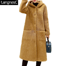 TANGNEST Loose Hooded Long Furry Coats 2017 New Winter Fashion Woman Warm Solid Wool Blend Coat Plus Size Casual Outwear WWN1149